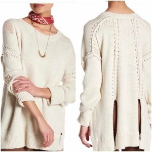 Wildfox S ivory alpaca blend destroyed sweater